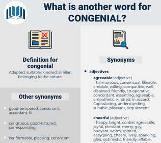 congenial, synonym congenial, another word for congenial, words like congenial, thesaurus congenial