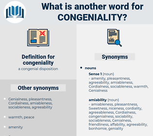congeniality, synonym congeniality, another word for congeniality, words like congeniality, thesaurus congeniality