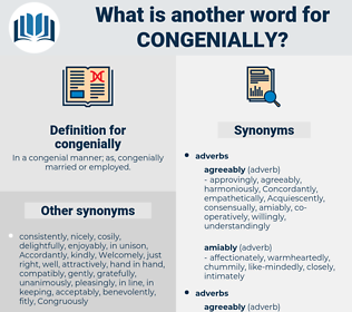 congenially, synonym congenially, another word for congenially, words like congenially, thesaurus congenially
