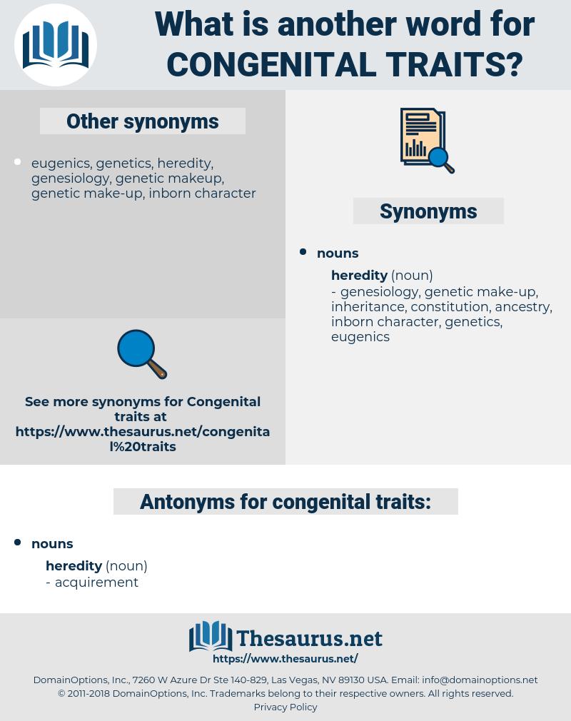 congenital traits, synonym congenital traits, another word for congenital traits, words like congenital traits, thesaurus congenital traits