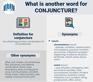 conjuncture, synonym conjuncture, another word for conjuncture, words like conjuncture, thesaurus conjuncture