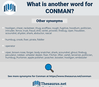 CONMAN, synonym CONMAN, another word for CONMAN, words like CONMAN, thesaurus CONMAN