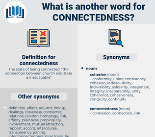 connectedness, synonym connectedness, another word for connectedness, words like connectedness, thesaurus connectedness