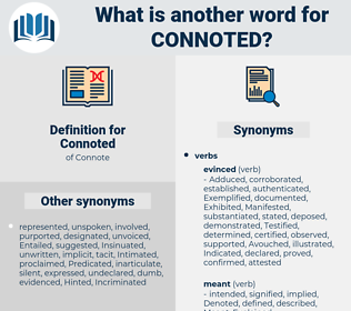Connoted, synonym Connoted, another word for Connoted, words like Connoted, thesaurus Connoted