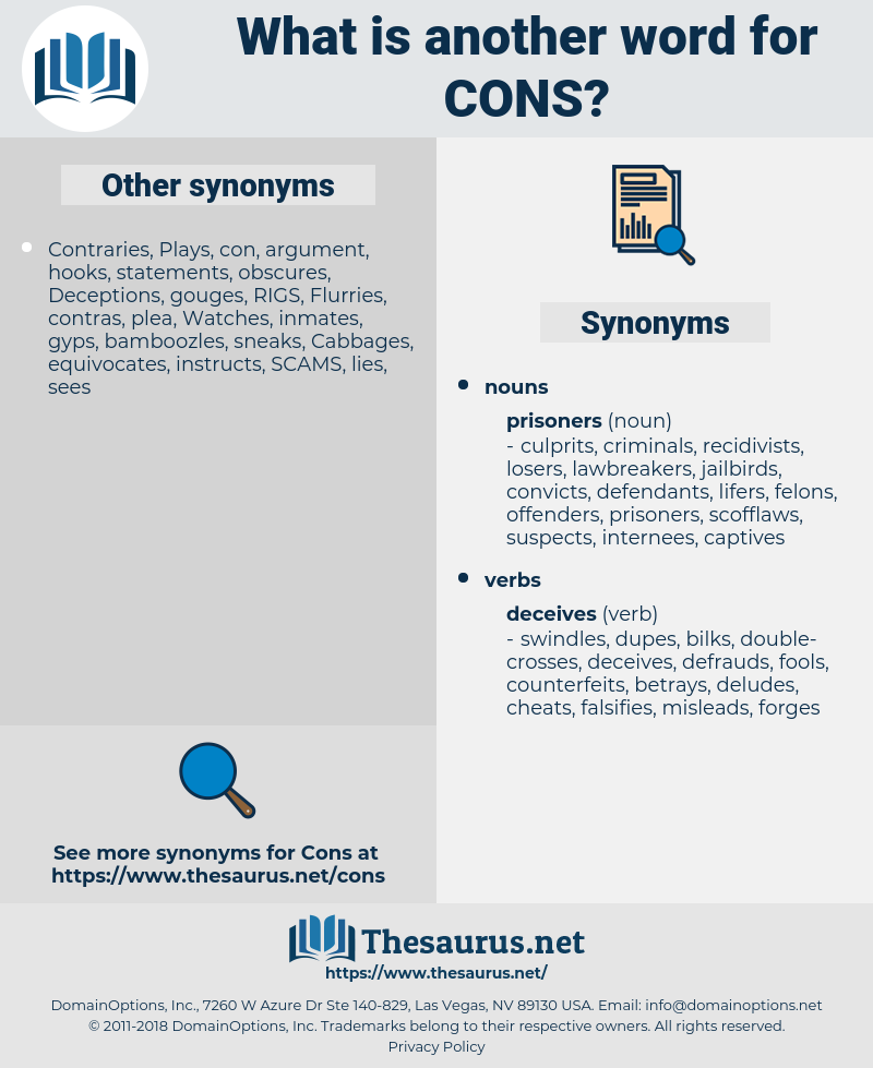 cons, synonym cons, another word for cons, words like cons, thesaurus cons