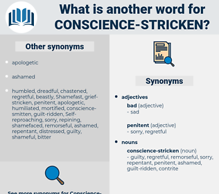 conscience stricken, synonym conscience stricken, another word for conscience stricken, words like conscience stricken, thesaurus conscience stricken
