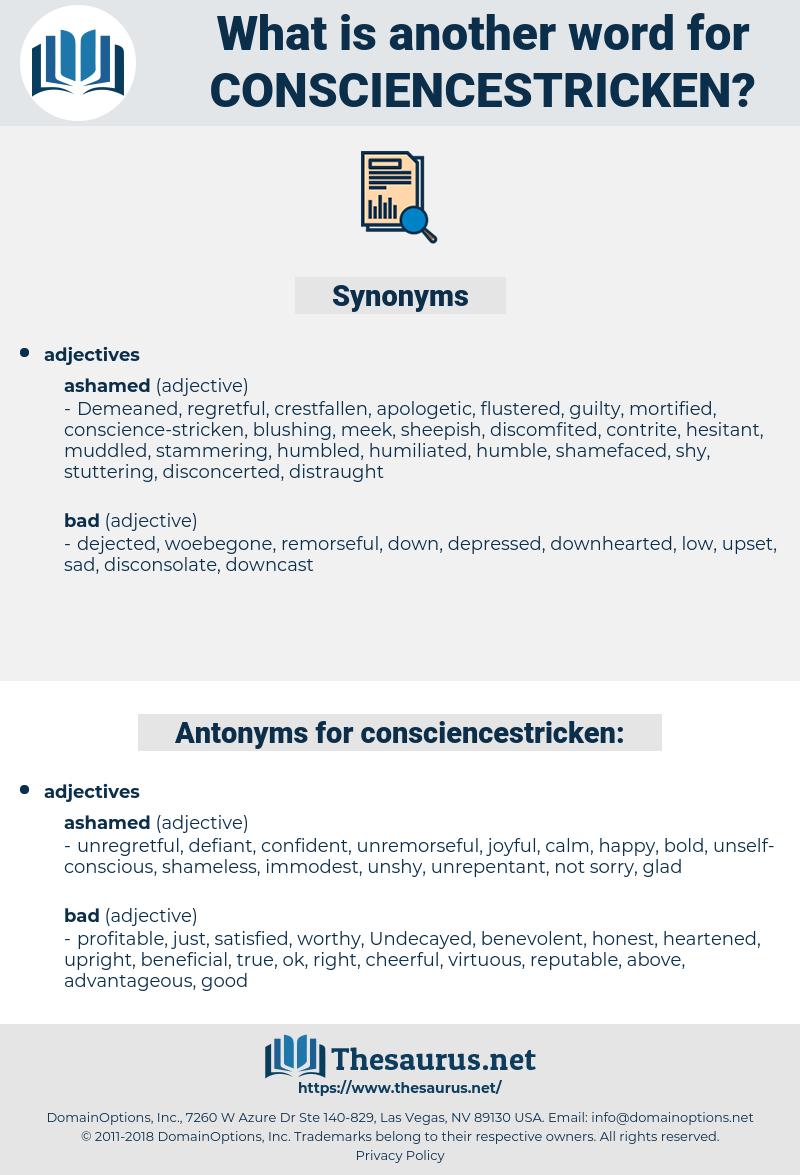 consciencestricken, synonym consciencestricken, another word for consciencestricken, words like consciencestricken, thesaurus consciencestricken