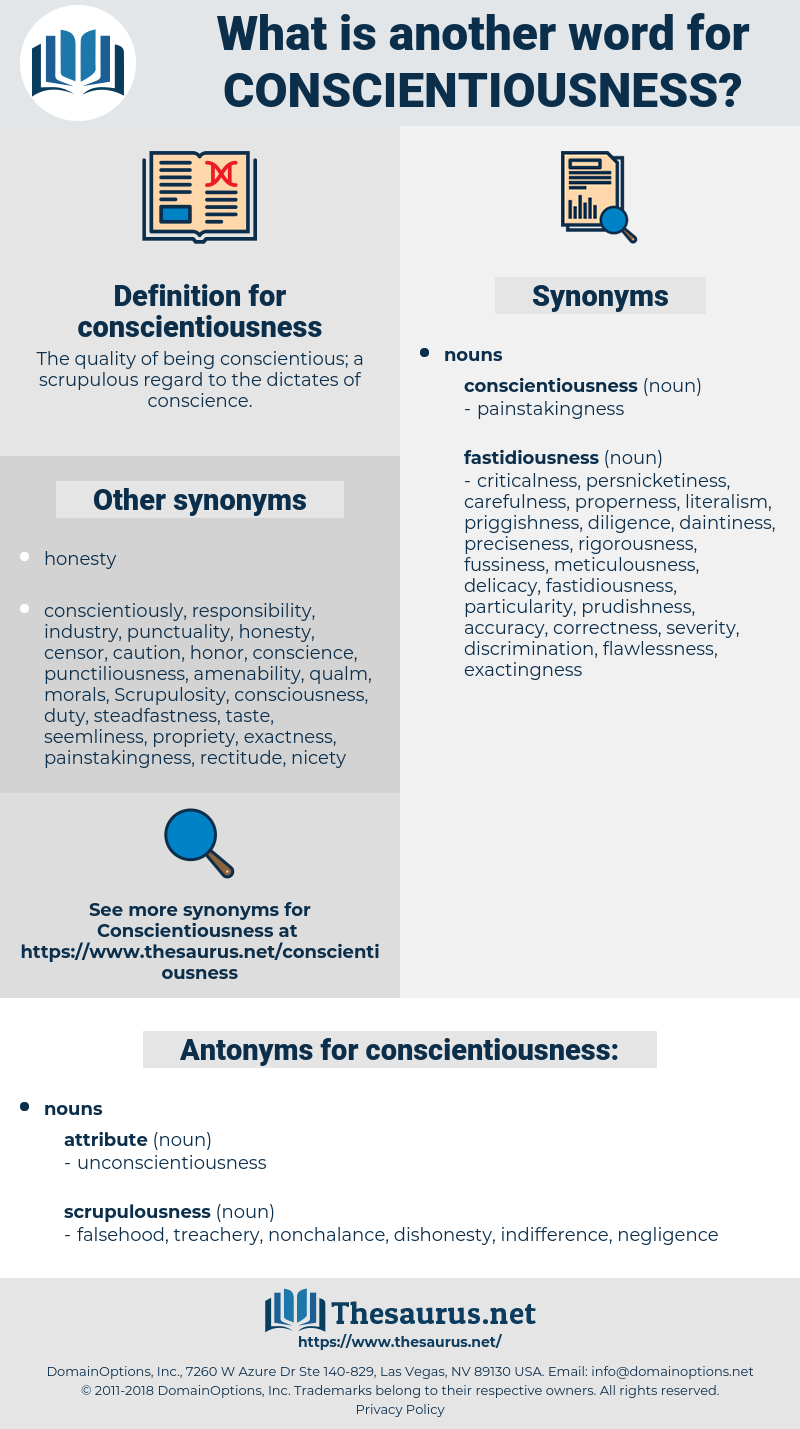 conscientiousness, synonym conscientiousness, another word for conscientiousness, words like conscientiousness, thesaurus conscientiousness