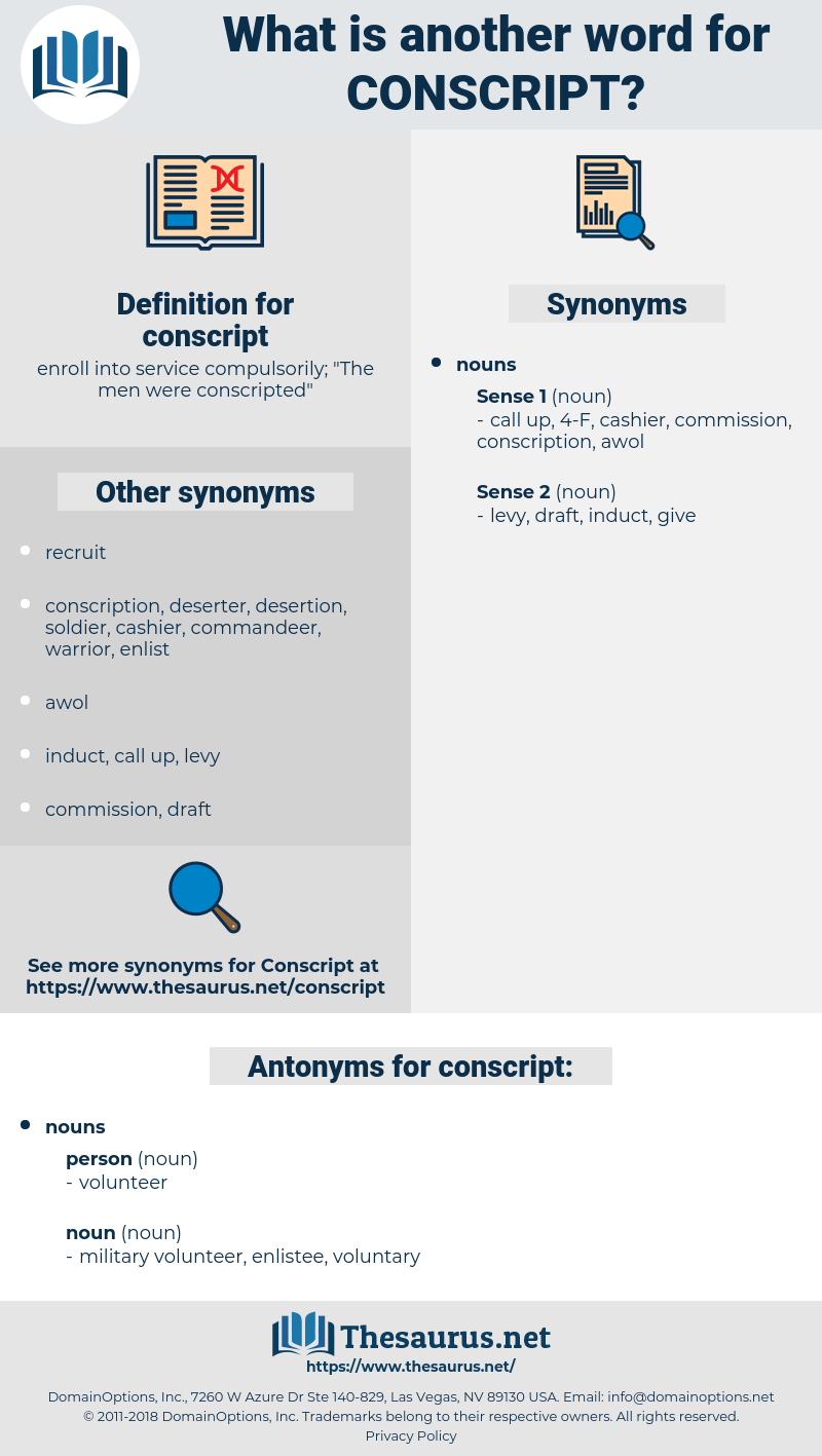 conscript, synonym conscript, another word for conscript, words like conscript, thesaurus conscript