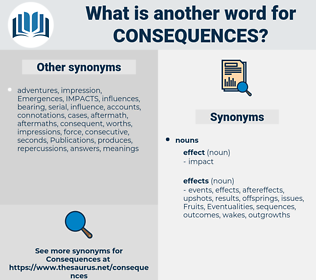 consequences, synonym consequences, another word for consequences, words like consequences, thesaurus consequences