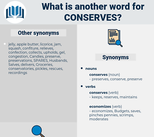 conserves, synonym conserves, another word for conserves, words like conserves, thesaurus conserves