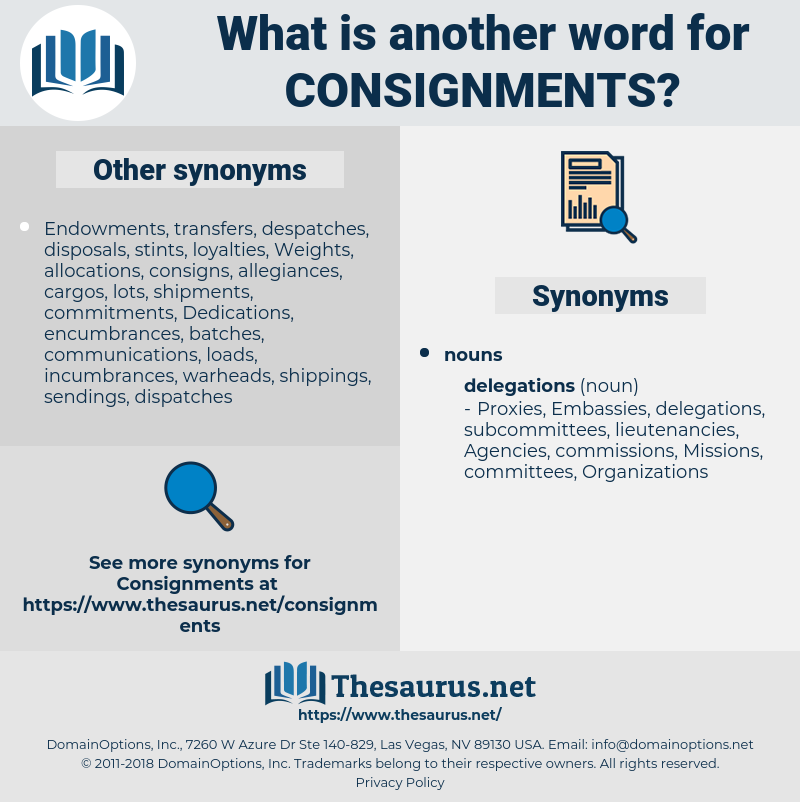 consignments, synonym consignments, another word for consignments, words like consignments, thesaurus consignments