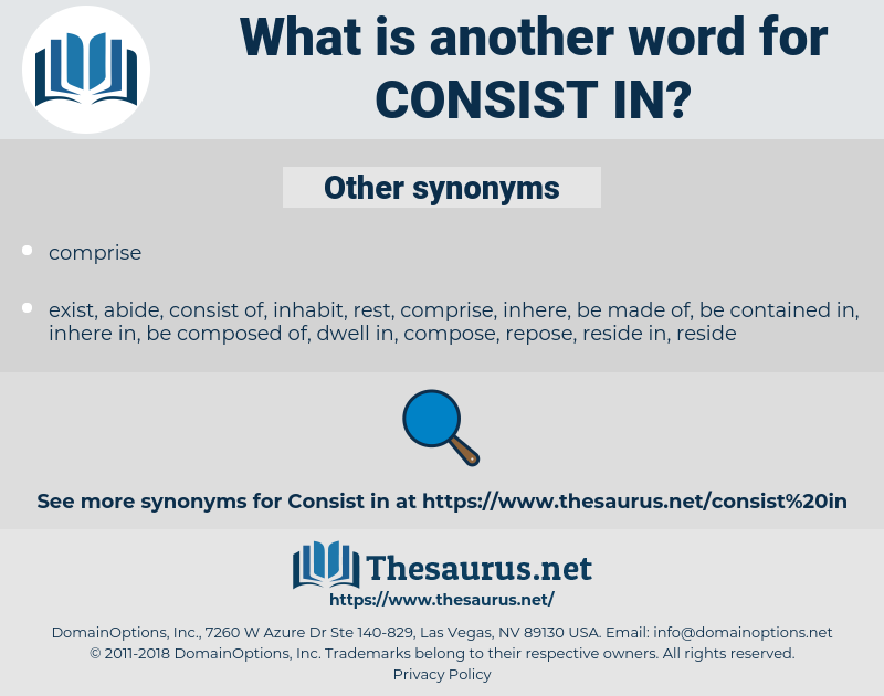 consist in, synonym consist in, another word for consist in, words like consist in, thesaurus consist in