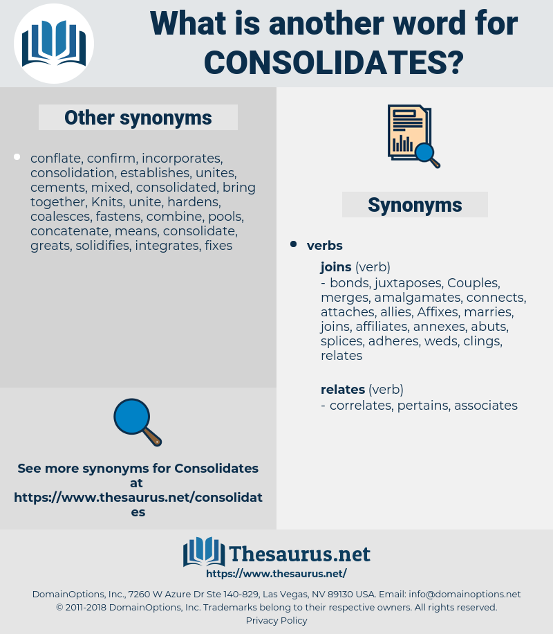 consolidates, synonym consolidates, another word for consolidates, words like consolidates, thesaurus consolidates