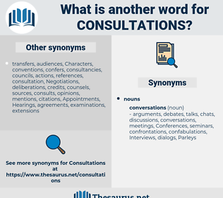 Consultations, synonym Consultations, another word for Consultations, words like Consultations, thesaurus Consultations