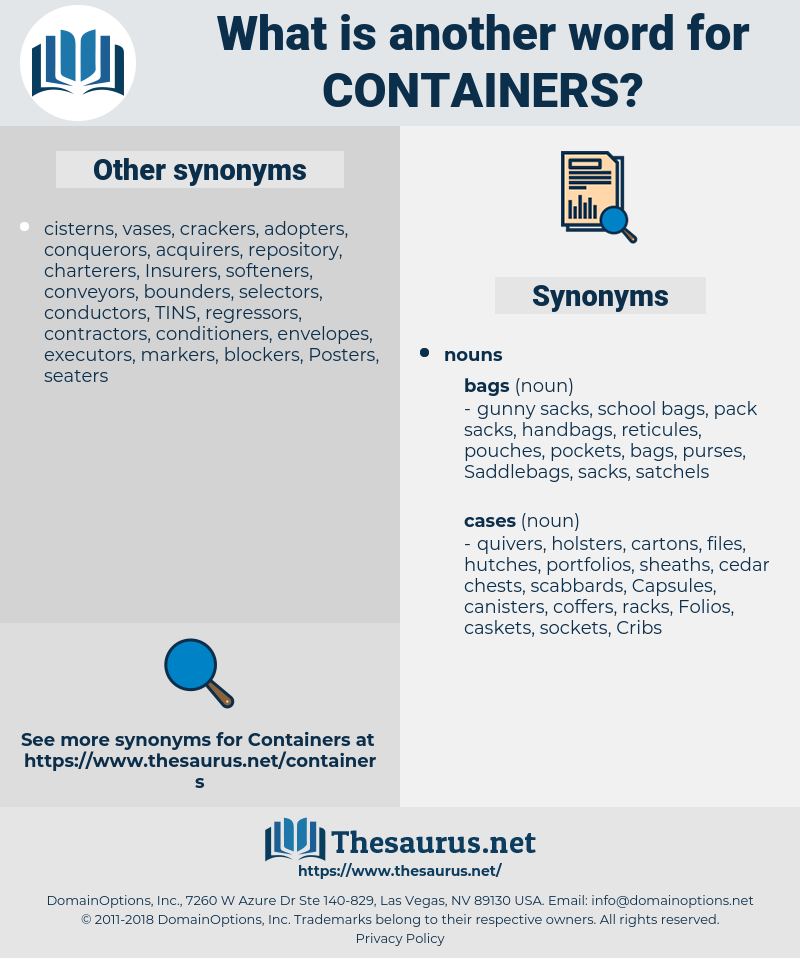 containers, synonym containers, another word for containers, words like containers, thesaurus containers