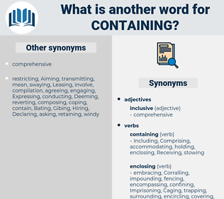 Containing, synonym Containing, another word for Containing, words like Containing, thesaurus Containing