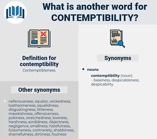 contemptibility, synonym contemptibility, another word for contemptibility, words like contemptibility, thesaurus contemptibility