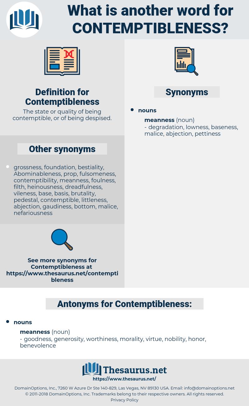 Contemptibleness, synonym Contemptibleness, another word for Contemptibleness, words like Contemptibleness, thesaurus Contemptibleness