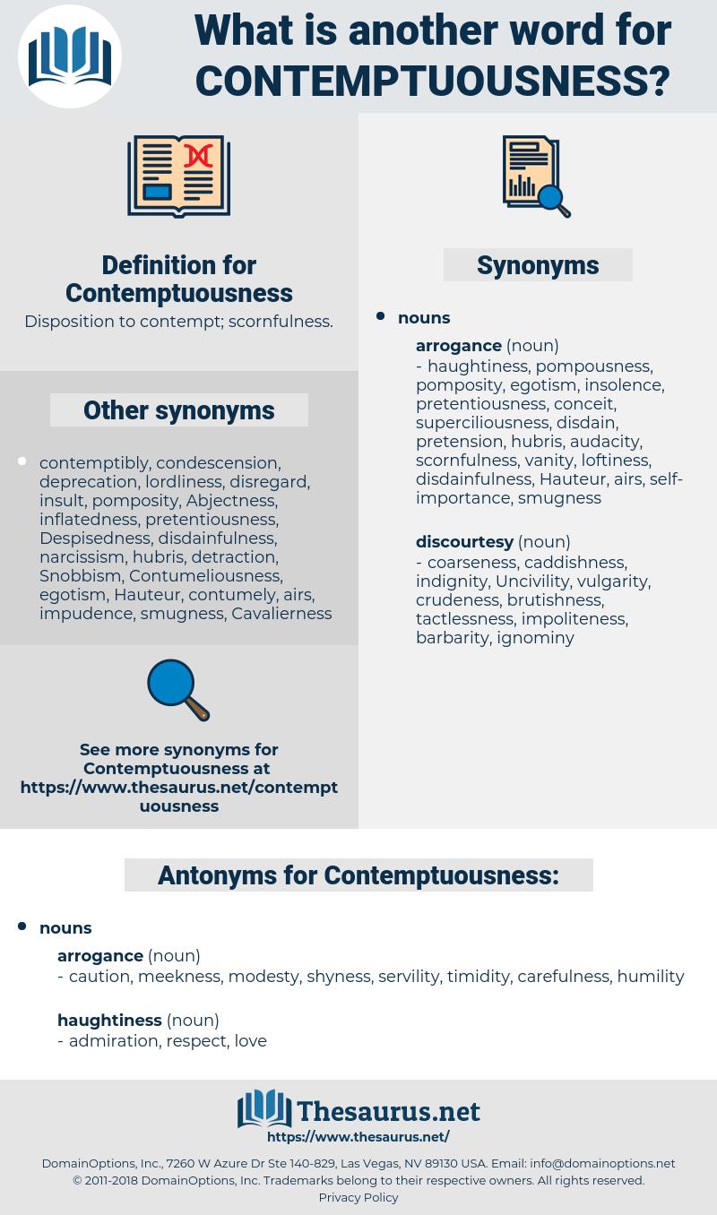 Contemptuousness, synonym Contemptuousness, another word for Contemptuousness, words like Contemptuousness, thesaurus Contemptuousness