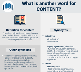 content, synonym content, another word for content, words like content, thesaurus content