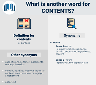 contents, synonym contents, another word for contents, words like contents, thesaurus contents