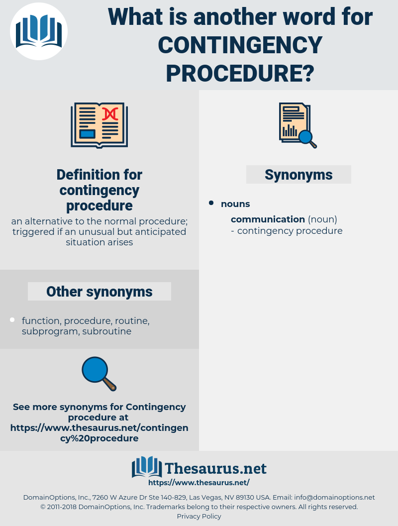 contingency procedure, synonym contingency procedure, another word for contingency procedure, words like contingency procedure, thesaurus contingency procedure
