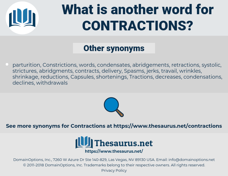 contractions, synonym contractions, another word for contractions, words like contractions, thesaurus contractions