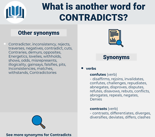 contradicts, synonym contradicts, another word for contradicts, words like contradicts, thesaurus contradicts