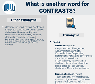 contrasts, synonym contrasts, another word for contrasts, words like contrasts, thesaurus contrasts