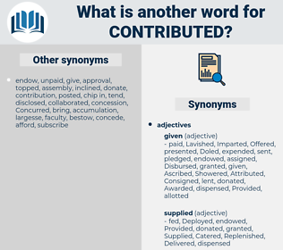 Contributed, synonym Contributed, another word for Contributed, words like Contributed, thesaurus Contributed