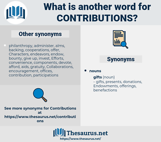 contributions, synonym contributions, another word for contributions, words like contributions, thesaurus contributions