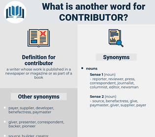 contributor, synonym contributor, another word for contributor, words like contributor, thesaurus contributor