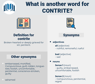 contrite, synonym contrite, another word for contrite, words like contrite, thesaurus contrite