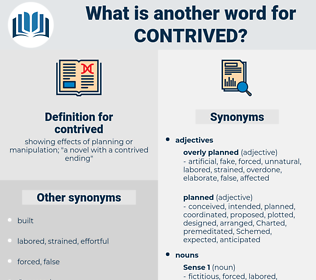contrived, synonym contrived, another word for contrived, words like contrived, thesaurus contrived
