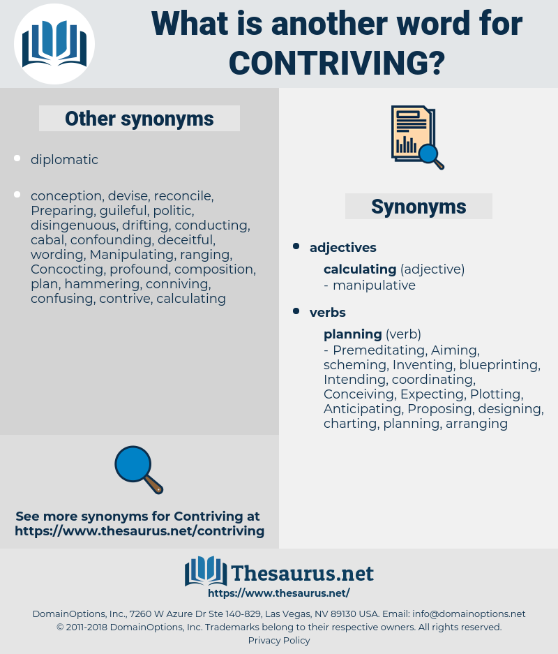 Contriving, synonym Contriving, another word for Contriving, words like Contriving, thesaurus Contriving