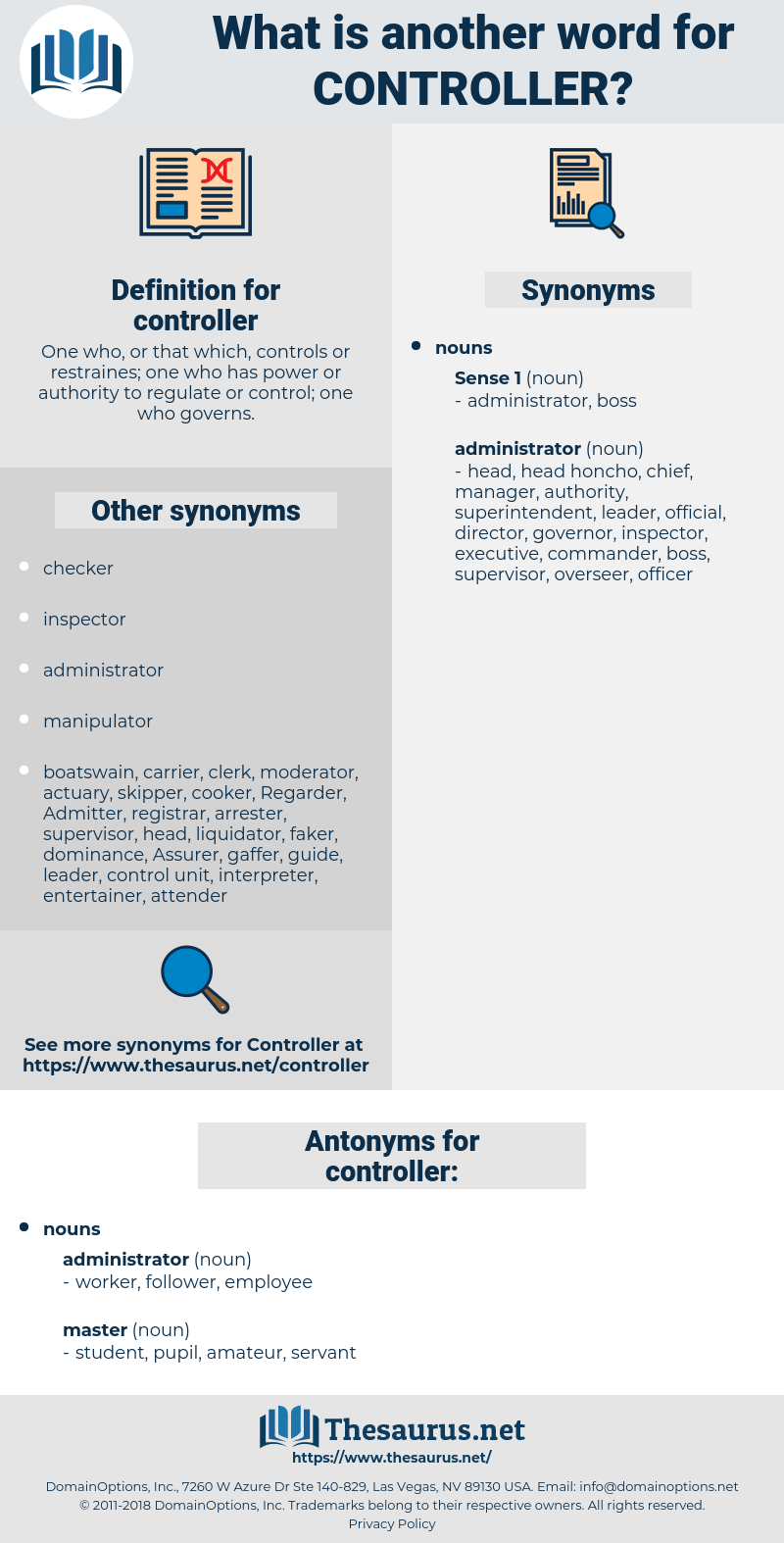 Synonyms for CONTROLLER, Antonyms for CONTROLLER - Thesaurus net