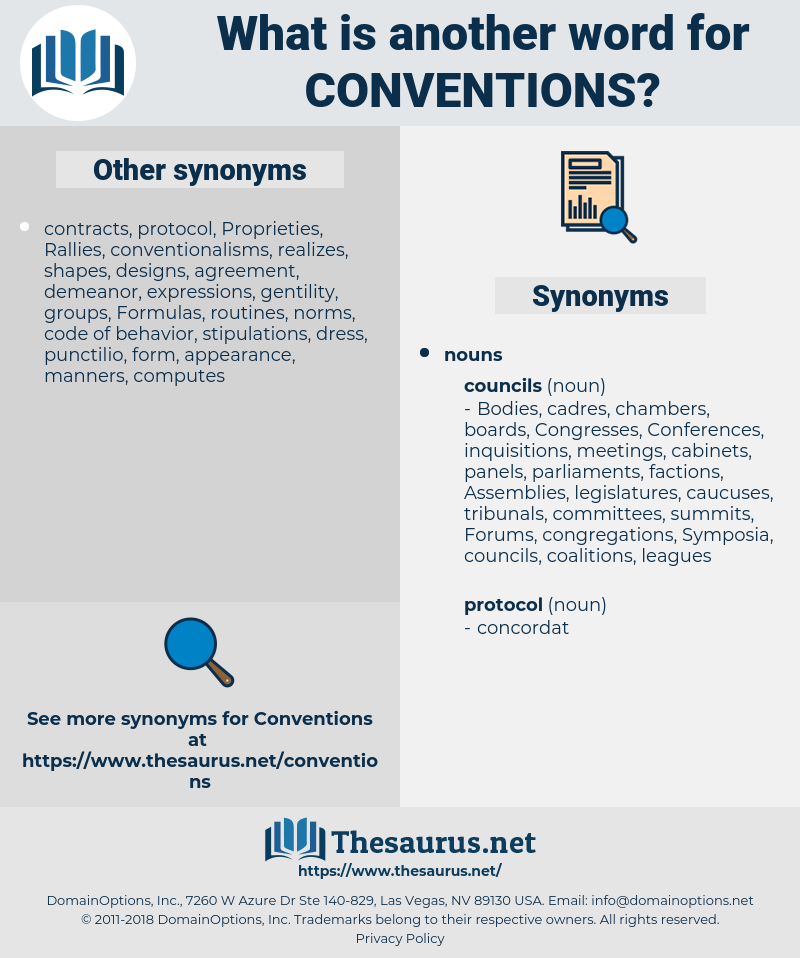 conventions, synonym conventions, another word for conventions, words like conventions, thesaurus conventions