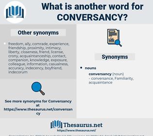 conversancy, synonym conversancy, another word for conversancy, words like conversancy, thesaurus conversancy