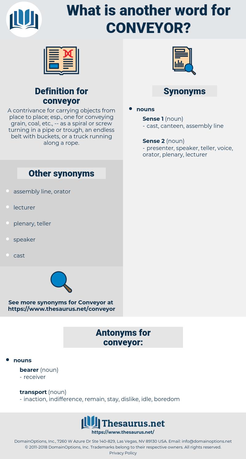 conveyor, synonym conveyor, another word for conveyor, words like conveyor, thesaurus conveyor