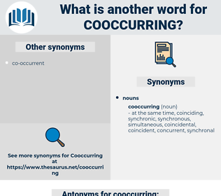 cooccurring, synonym cooccurring, another word for cooccurring, words like cooccurring, thesaurus cooccurring