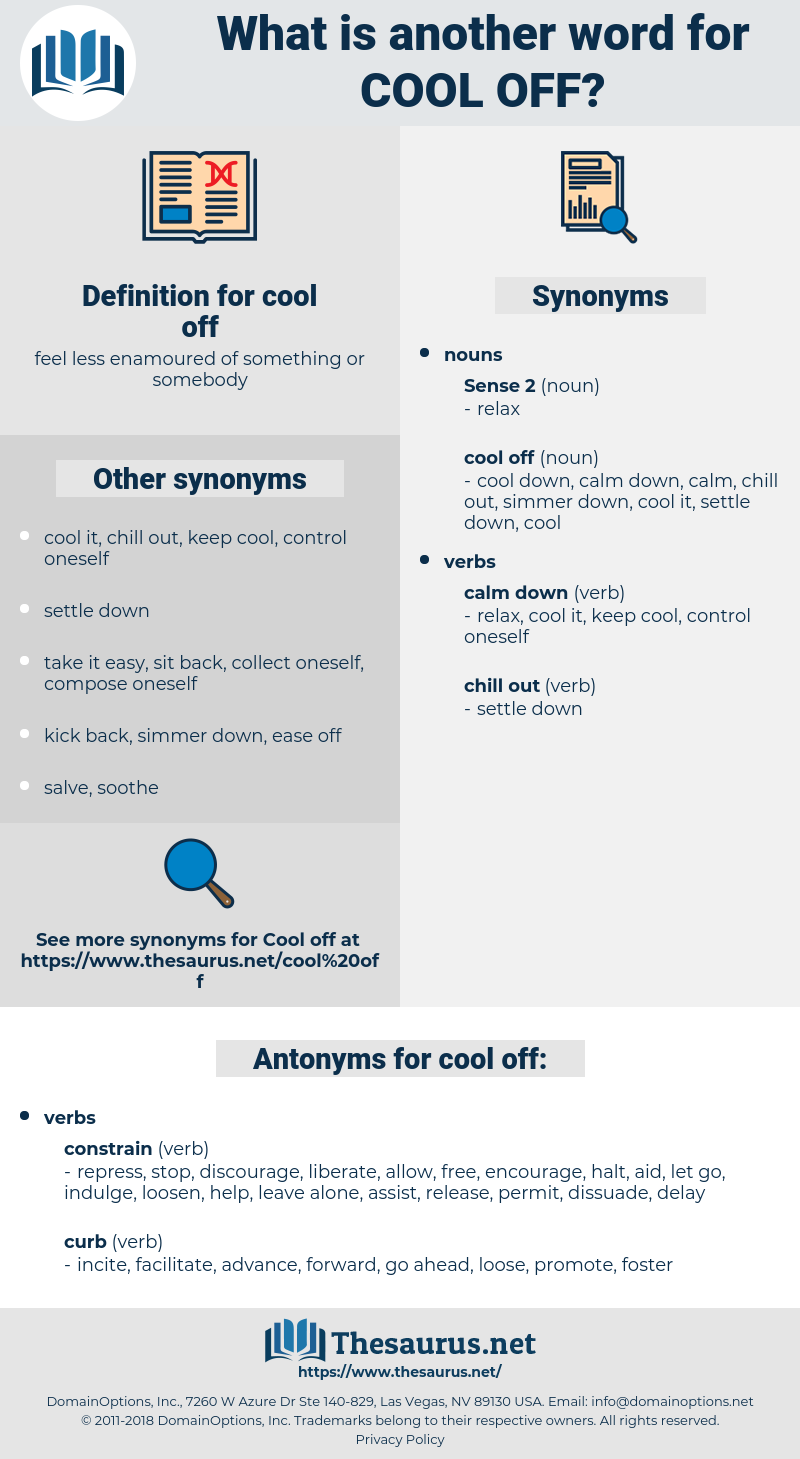Synonyms for COOL OFF, Antonyms for COOL OFF - Thesaurus net