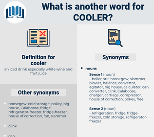 cooler, synonym cooler, another word for cooler, words like cooler, thesaurus cooler