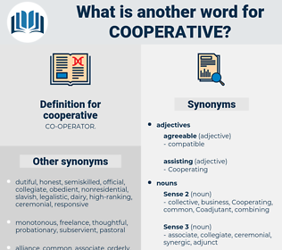 cooperative, synonym cooperative, another word for cooperative, words like cooperative, thesaurus cooperative