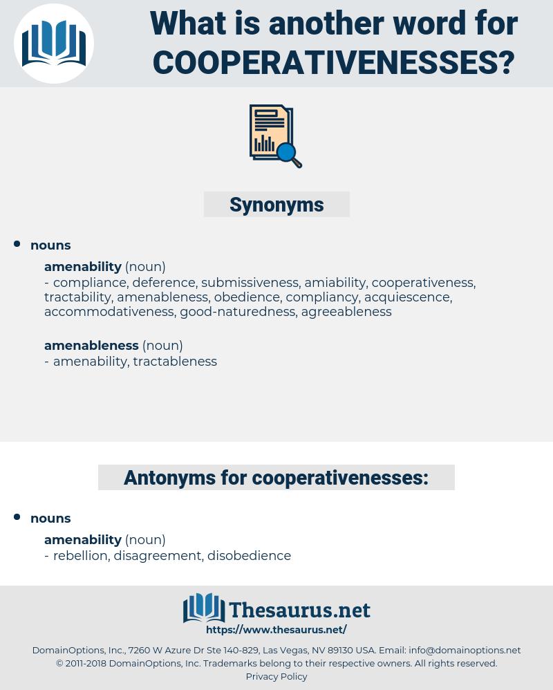 cooperativenesses, synonym cooperativenesses, another word for cooperativenesses, words like cooperativenesses, thesaurus cooperativenesses