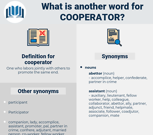 cooperator, synonym cooperator, another word for cooperator, words like cooperator, thesaurus cooperator