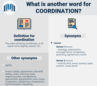 coordination, synonym coordination, another word for coordination, words like coordination, thesaurus coordination