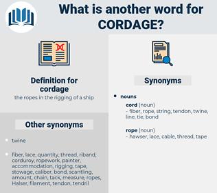 cordage, synonym cordage, another word for cordage, words like cordage, thesaurus cordage