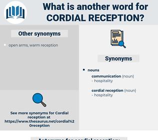 cordial reception, synonym cordial reception, another word for cordial reception, words like cordial reception, thesaurus cordial reception