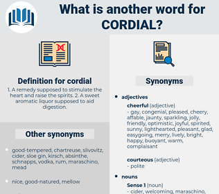 cordial, synonym cordial, another word for cordial, words like cordial, thesaurus cordial